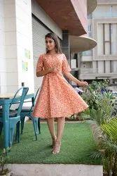 Floral Printed Flare Orange Dress