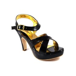 Klaxxyque Footwear Party Wear Ladies Black High Heel Sandal, Size: 7-10