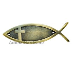 Cross Brass Fish Sign