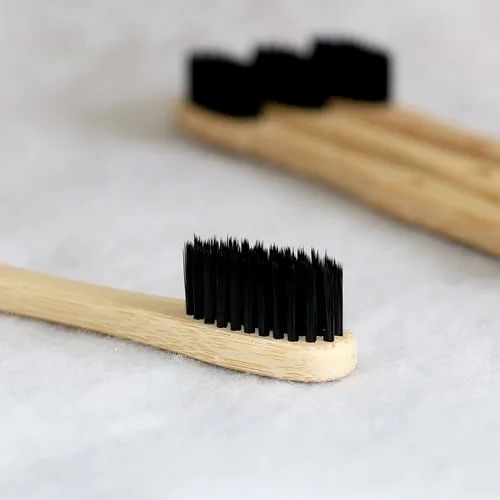 Eco365 Black With Brown Bamboo Toothbrush, for Personal, Packaging Size: 15x30x195 Mm