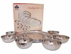 Silver SAIL SALEM STAINLESS 12 Pcs Nastha Set-1 ( Full Plate & Katori ), Circular, Size: For 6 People