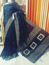 Hand Woven Black Bengali Silk Saree