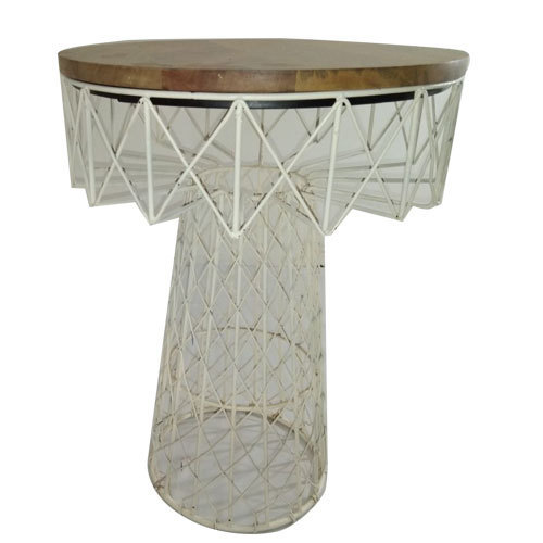 Metal Frame And Wooden Round Center Table Height 3 To 4 Feet Rs