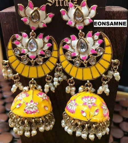 e38ef66fd EARRINGS - Designer Trendy Celebrity Style Indian Lotus Jhumkas ...