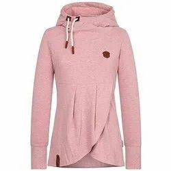 Full Sleeve Pink Ladies Plain Cotton Hoodies