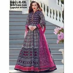Printed Silk Ladies Party Wear Readymade Gown
