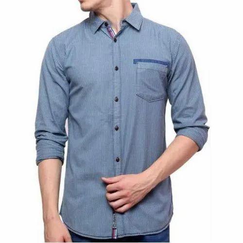 Rollup Sleeves Mens Plain Casual Shirt