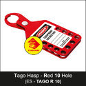 Red Lockout Tago Hasp - 10 Hole