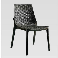 Black Armless Plastic Designer Chair