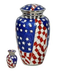 American Flag Brass Cremation Urn