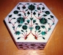 Marble Box with Elephant Design Inlay Work