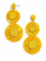 Yellow Tassels Fringe Earring