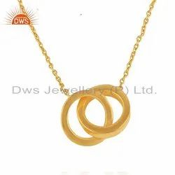 Connected Circle Design 18k Gold Plated Plain Silver Chain Pendant Jewelry
