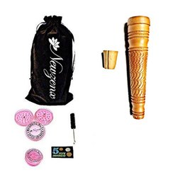 Clay Crafted Yellow Chillum Hookah 5 Inch Included 1 Herb Crusher, Fancy Velvet Pouch & Accessories