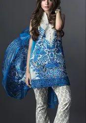 Blue and White Embroidered Salwar Kameez