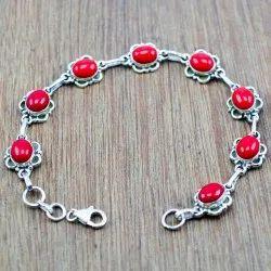 925 Sterling Silver Handmade Jewelry Coral Gemstone Nice Bracelet Wb-5140