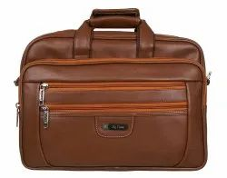 Camel Brown Leather Laptop Messenger Bag, Size: 15w X 12.5h X 6 Depth Inches