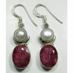 Ruby with Pearl 925 Sterling Silver Fashion Earrings Jewelry