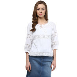 Cotton White Ladies Top, Size: S, M, L & XL