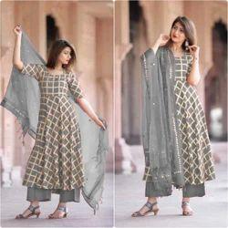 Regular Half Sleeve Silk Premium Slub Rayon Long Casual Wear
