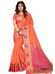 TraditionalFashionDesigner Cotton Orange Color Silk Indian Saree, 5.5 m (separate blouse piece)