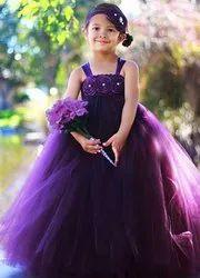 Girl Beautiful Dark Purple Kids Party Wear Dress