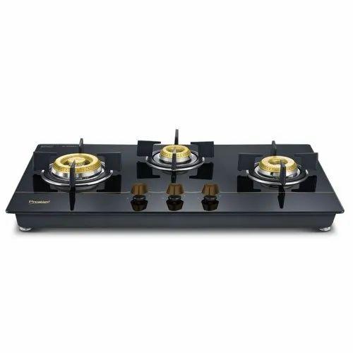 Prestige Glass 3 Burner Hob (Black)