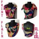 Lycra Printed Blouse, Size: Xl, Xxl Also Available In L
