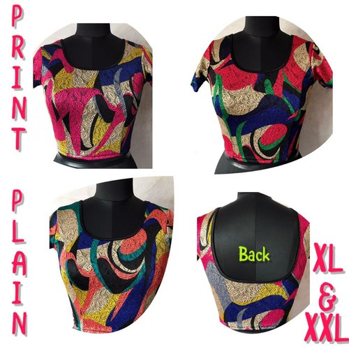 Lycra Printed Blouse, Size: XL,XXL also available in L
