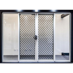Brown Powder Coated Aluminium Grill Doors, For Home And Office, Double Door