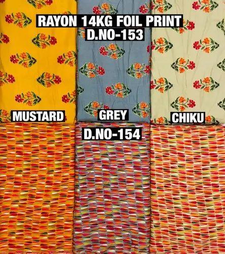 Rayon Foil Print Kurti Fabric