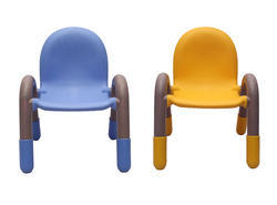 Blue And Yellow Plastic Kids Chair Pair