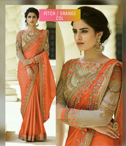 983bf18644 Designer Orange Silk Saree With Embroidery Work Border And Blouse at ...