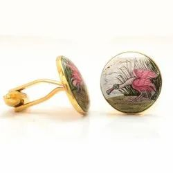 Hand Painted Birds Cufflinks In Sterling Silver And Enamel
