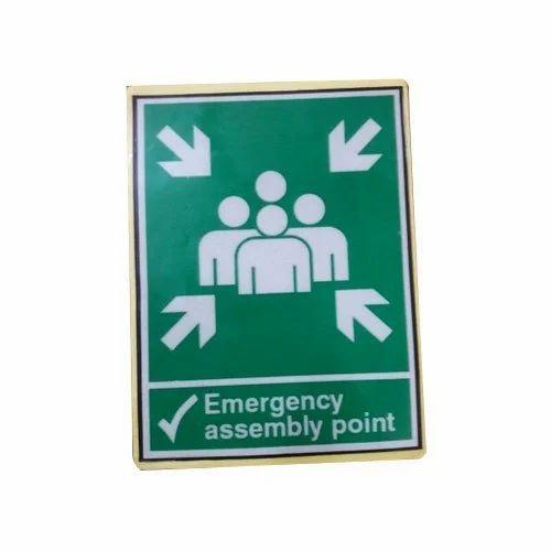 Green,White Signage Sticker, Shape: Square