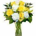 Yellow N White Roses Vase Flowers
