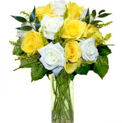 Yellow N White Roses Vase Flowers Mixed Flowers Gifts World