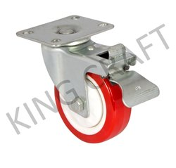 Zinc Plated Plate Type Castor With Red PU Wheel Swivel Break