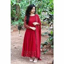 Ethnic Red Pearl Work Designer Gowns, Size: Medium