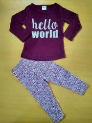 Custom Printed Girls Sleep Wear Pyjamas