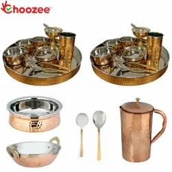 Choozee - Stainless Steel Copper Thali Set with Serveware & Hammered Pitcher Jug (25 Pcs)