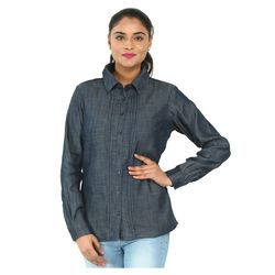 Ladies Grey Full Sleeves Shirt, Size: S to XL