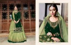 Fantabulous Velvet Embroidered Sharara Salwar Kameez