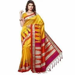 Printed Mysore Art Silk Saree, 6 m (with blouse piece)