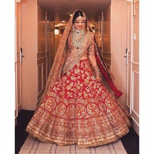 165792ea52 Bridal Wear Half Sleeves Embroidered Lehenga Choli, Rs 1350 /piece ...