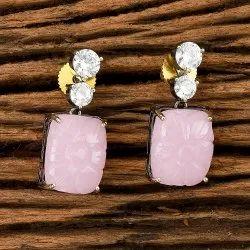 Brass Designer Black Plated Short Earring 405531