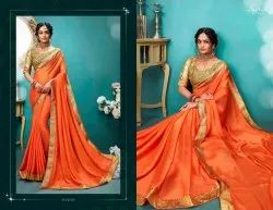 Orange Color  Rangoli Silk Designer Saree