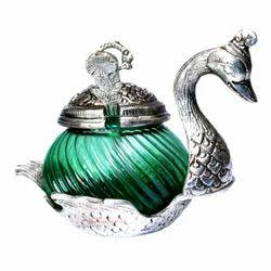 Rajasthan Craft Art Multicolor White Metal Single Duck Bowl Showpiece