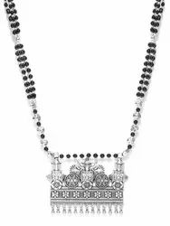 Priyaasi Oxidised Silver-Toned Peacock Inspired Royal Style Black Beaded Necklace