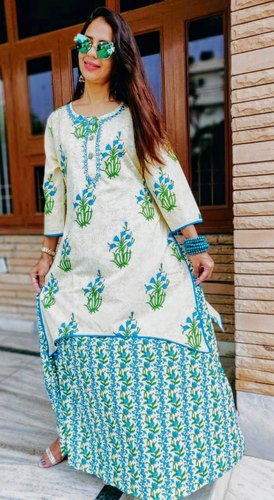 Non-Stretchable Cotton Blue Embroidered Double Layered Kurta